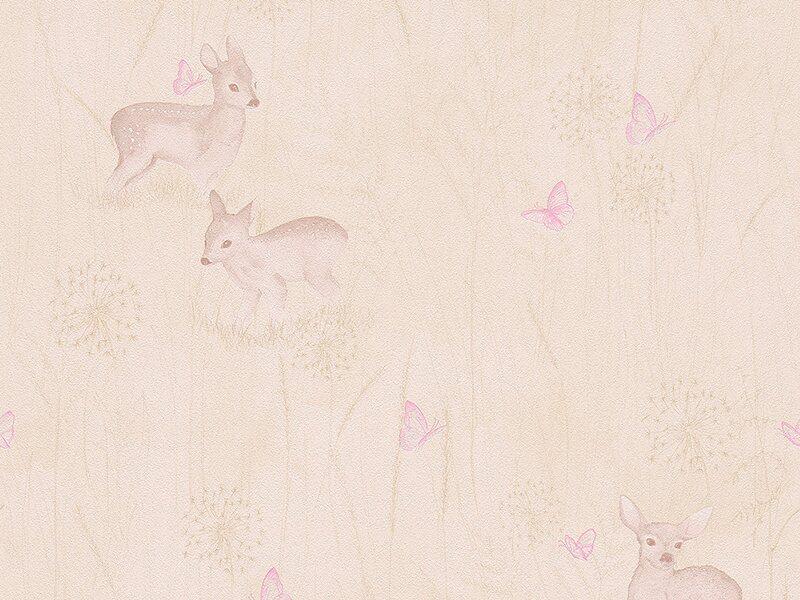 a s creation papiertapete lovely friends natur rosa. Black Bedroom Furniture Sets. Home Design Ideas