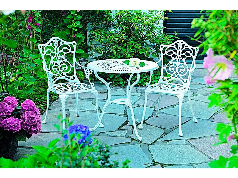 Gartenmöbel set alu 3 teilig  Gartenmöbelgruppe Lugano 3-teilig Weiß kaufen bei OBI