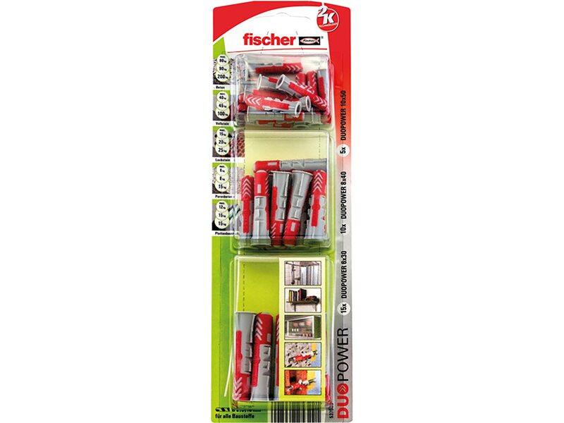 Fischer DuoPower Dübel 6 8 10 mm im Sortiment mit  Schrauben und Bohrer 180 tlg