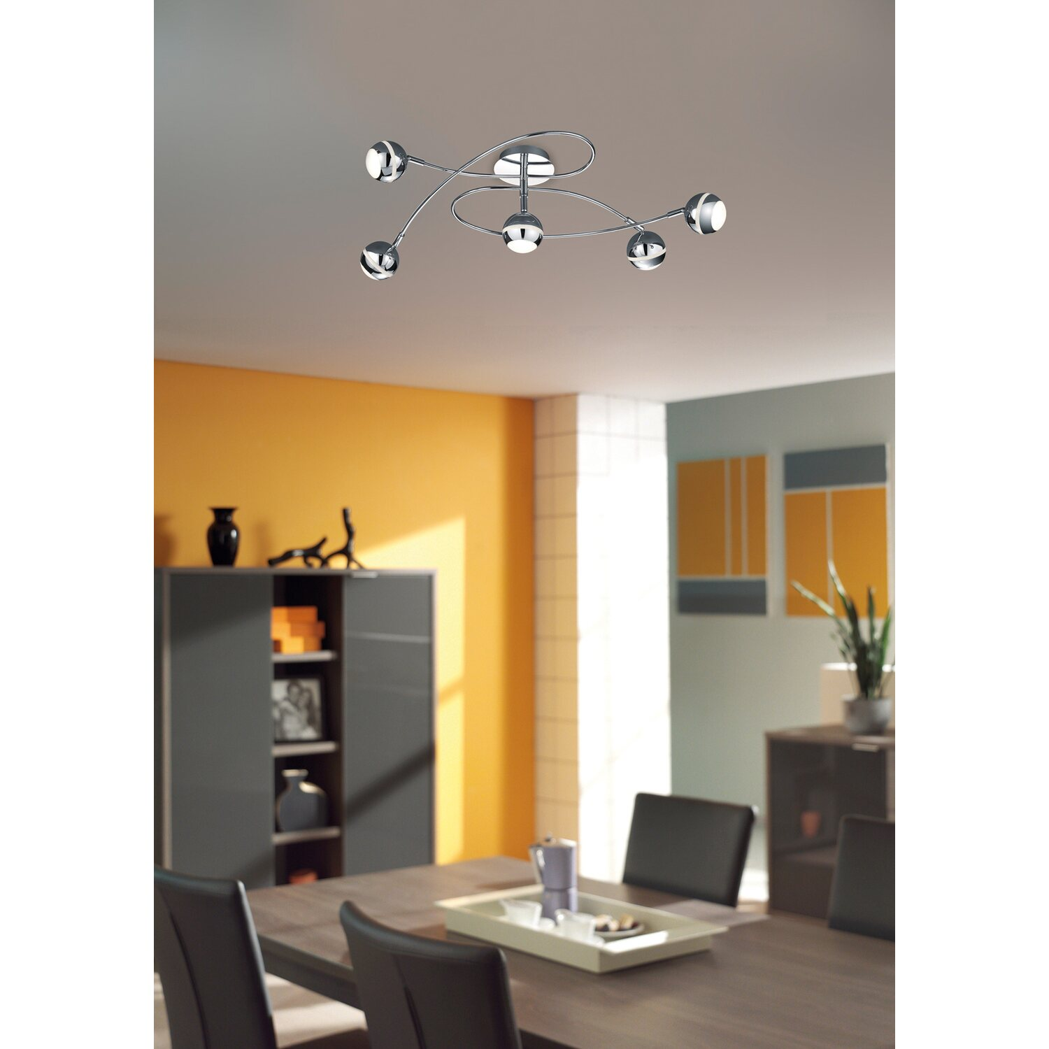 trio led deckenleuchte chrom 5 flammig eek a kaufen bei obi. Black Bedroom Furniture Sets. Home Design Ideas