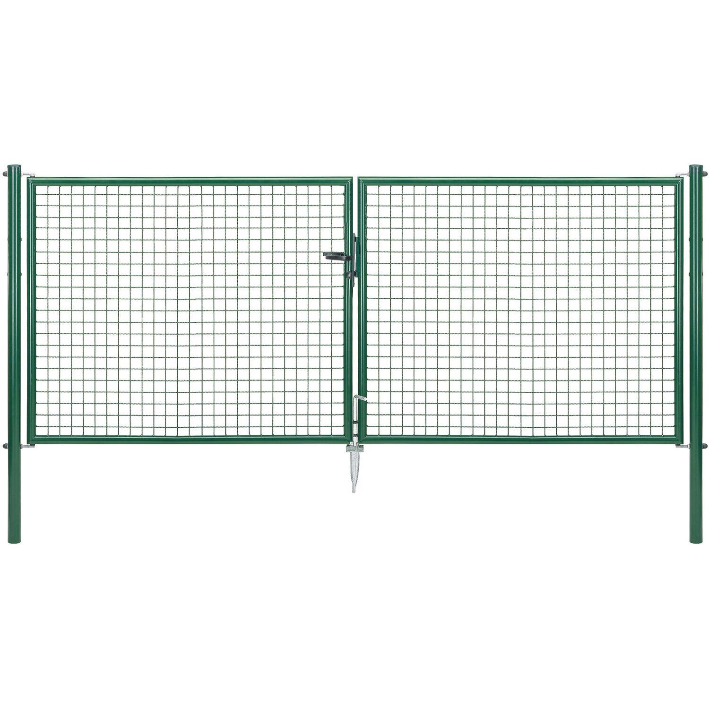 GAH Alberts Doppeltor für Maschendraht- und Fix-Clip Pro-Zaun Grün 125 cm x 300 cm