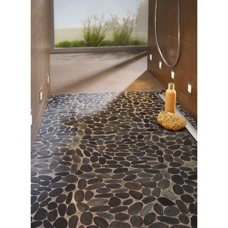 mosaikmatte flusskiesel flach schwarz matt 30 cm x 30 cm kaufen bei obi. Black Bedroom Furniture Sets. Home Design Ideas