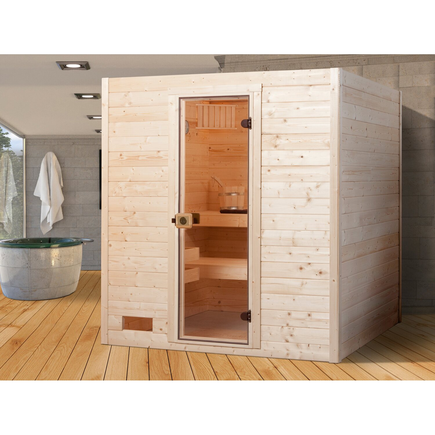 weka massivholz sauna 537 gr 2 mit glast r ohne ofen kaufen bei obi. Black Bedroom Furniture Sets. Home Design Ideas