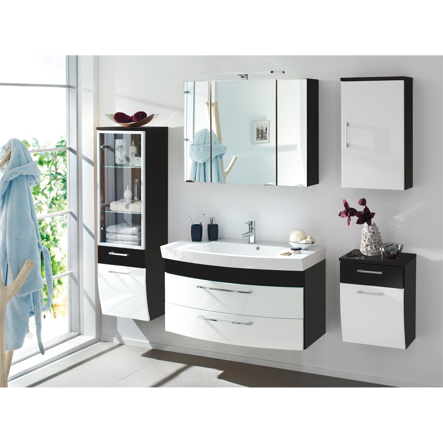 posseik badm bel set rima anthrazit wei 3 teilig eek a kaufen bei obi. Black Bedroom Furniture Sets. Home Design Ideas