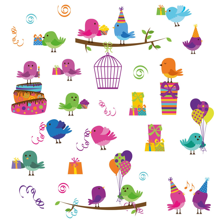 Eurographics Fenstersticker Birthday Birds