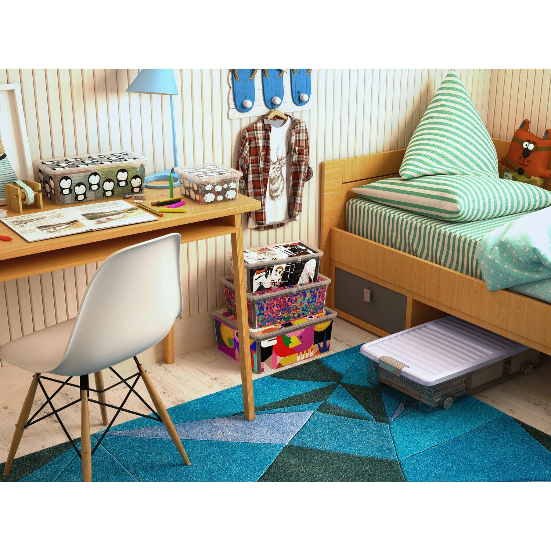 aufbewahrungsbox w l flach mit butterflydeckel 4 rollen blueberry kaufen bei obi. Black Bedroom Furniture Sets. Home Design Ideas