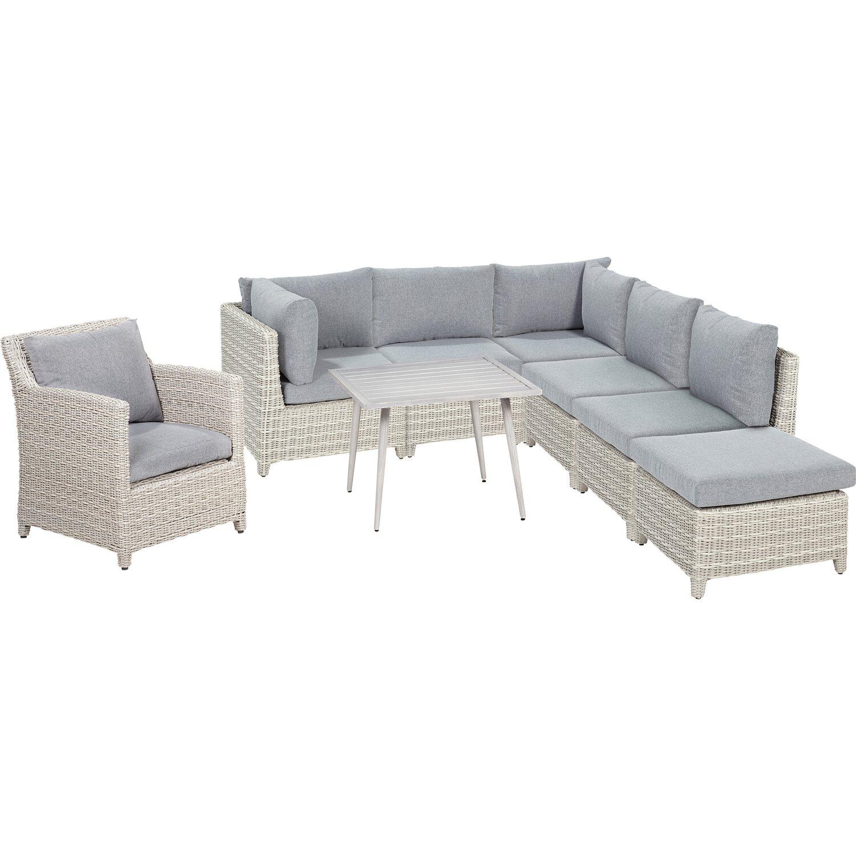 OBI Lounge-Gruppe Springside Polyrattan Naturgrau 6-tlg. kaufen bei OBI