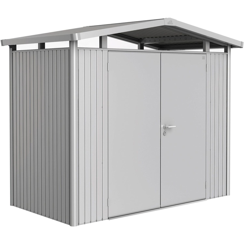 Biohort Gerätehaus Panorama mit Doppeltür Gr. P1 BxT: 257 x 137 cm Silber-Met. | Garten > Gerätehäuser | Biohort