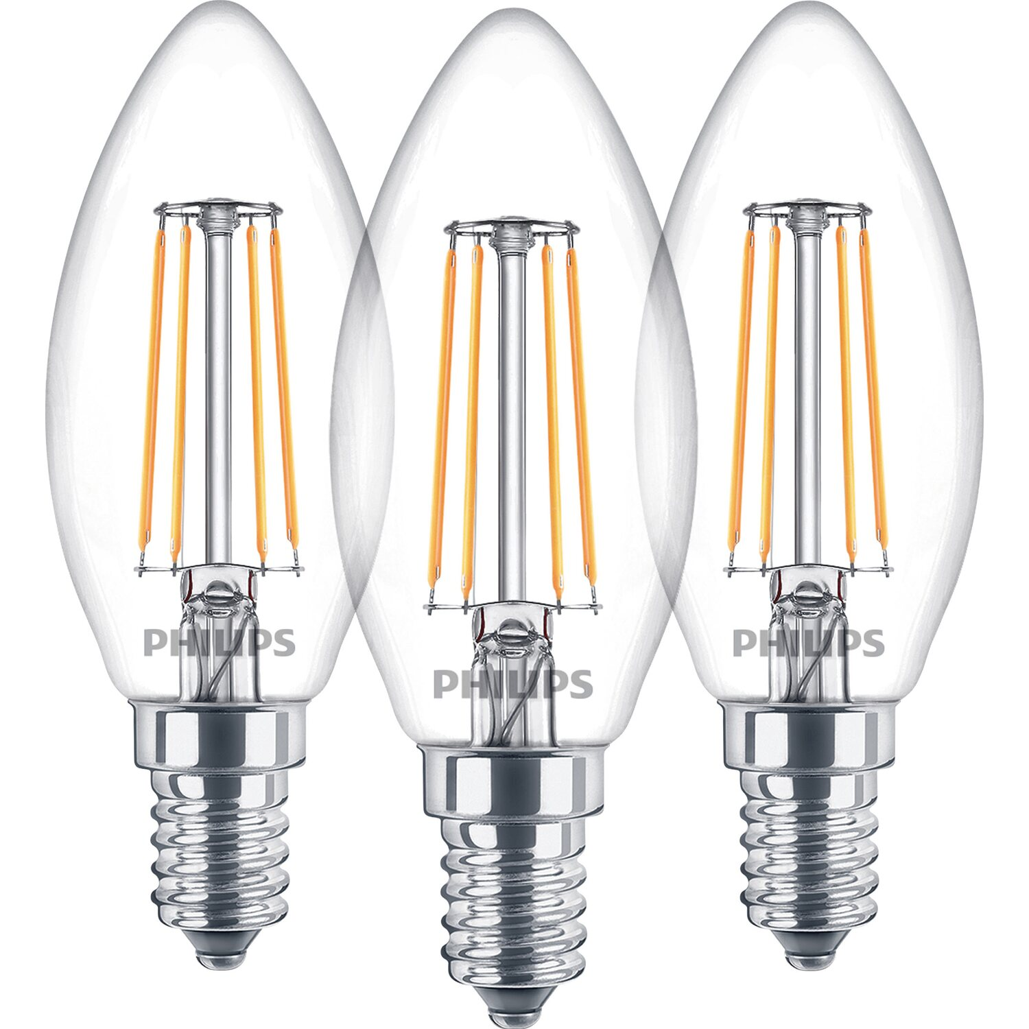 Favorit Philips LED-Lampe Kerzenform 3er-Pack E14/ 4,3 W (470 lm) Warmweiß VY87