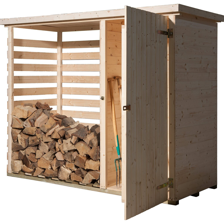 Weka Gartenschrank Maxim 16 mm, 240x90 cm mit Holzlagerplatz