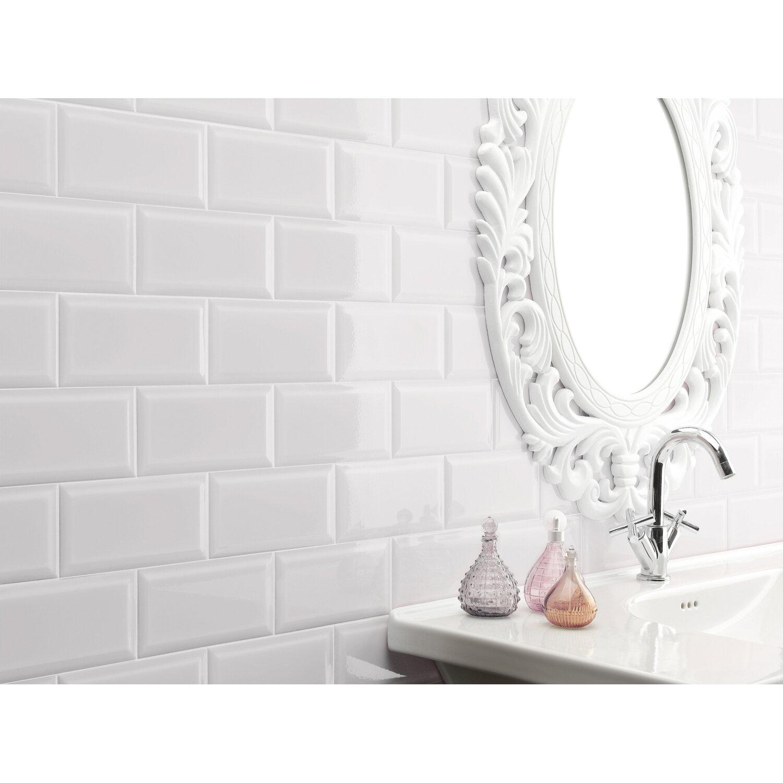 Wandfliese Facette Metro Weiß glänzend glasiert 20 cm x 20 cm ...