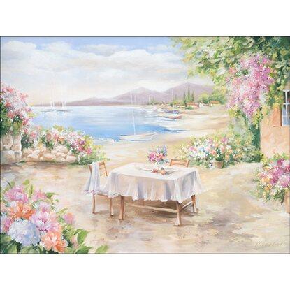leinwandbild terrasse am see 84 cm x 116 cm kaufen bei obi. Black Bedroom Furniture Sets. Home Design Ideas
