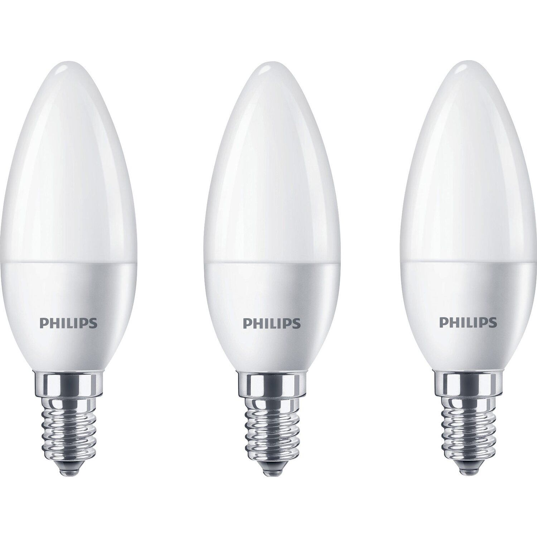 Philips LED-Lampe Kerzenform E14 / 5,5 W (470 lm) Warmweiß 3er-Pack ...