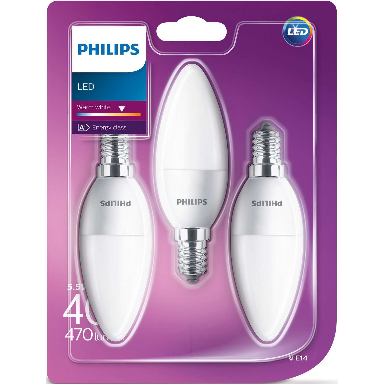 Philips led lampe kerzenform e14 55 w 470 lm warmwei 3er philips led lampe parisarafo Choice Image
