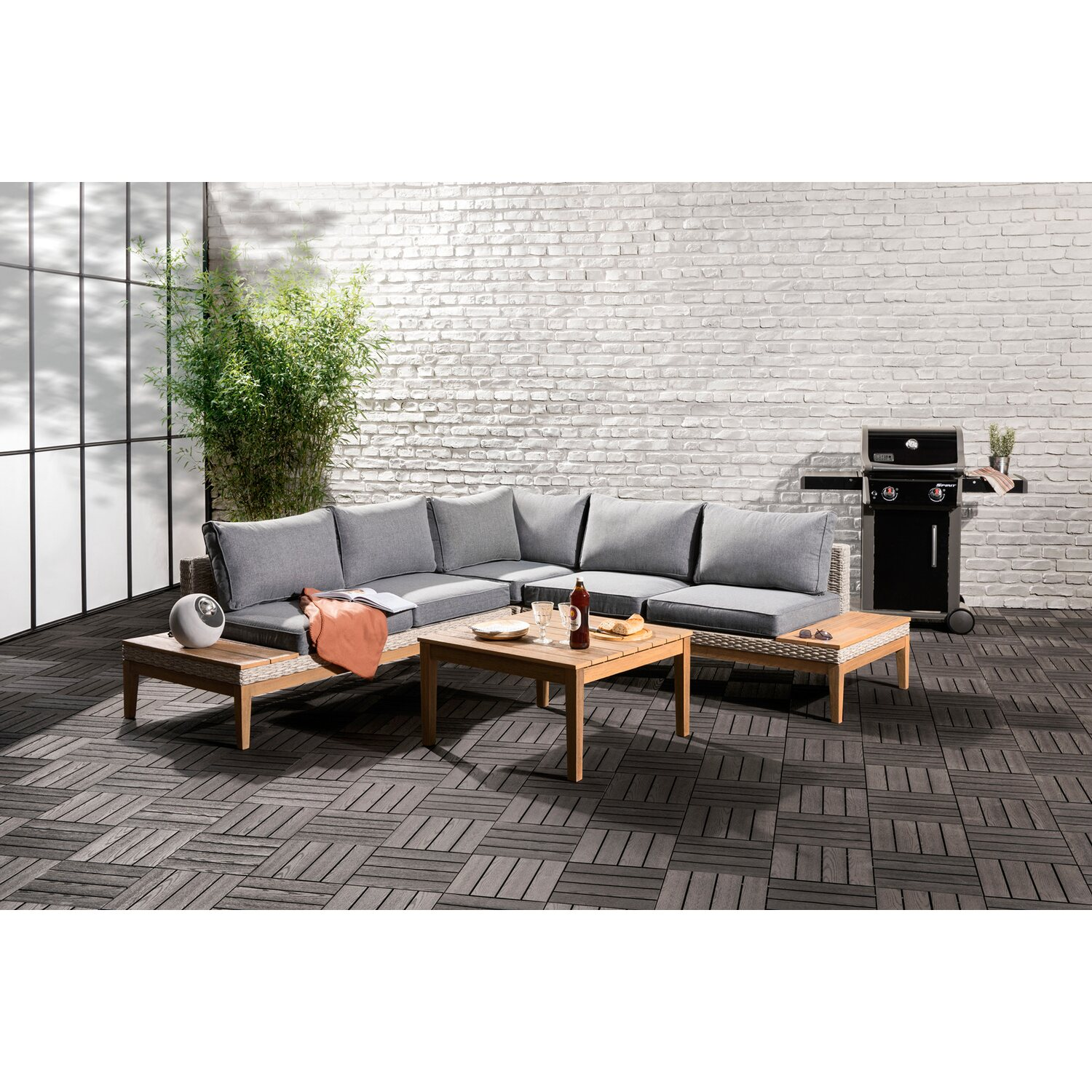 obi lounge gruppe hamerson fossil polyrattan eukalyptus 4. Black Bedroom Furniture Sets. Home Design Ideas