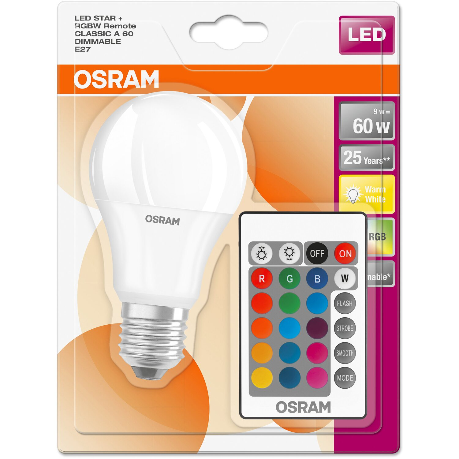 osram led lampe remote gl hlampenform e27 9 w warmwei 806 lm eek a kaufen bei obi. Black Bedroom Furniture Sets. Home Design Ideas