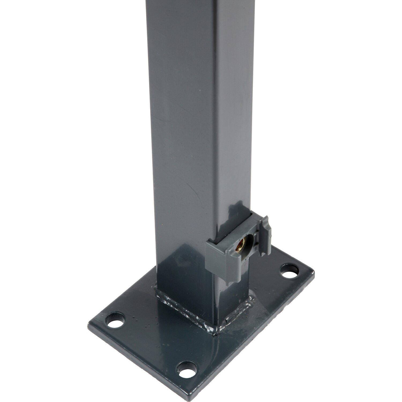 zaunpfosten mit angeschwei ter bodenplatte 109 cm anthrazit kaufen bei obi. Black Bedroom Furniture Sets. Home Design Ideas