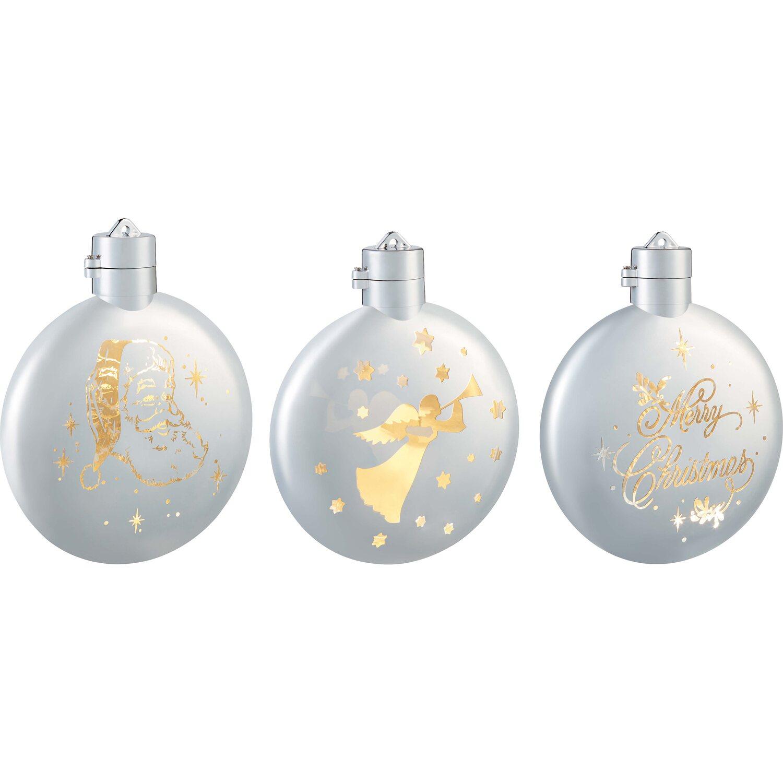 Weiß Christbaumkugeln Kunststoff.Weihnachts Baumkugel 1 Warmweiße Led 3fach Sortiert