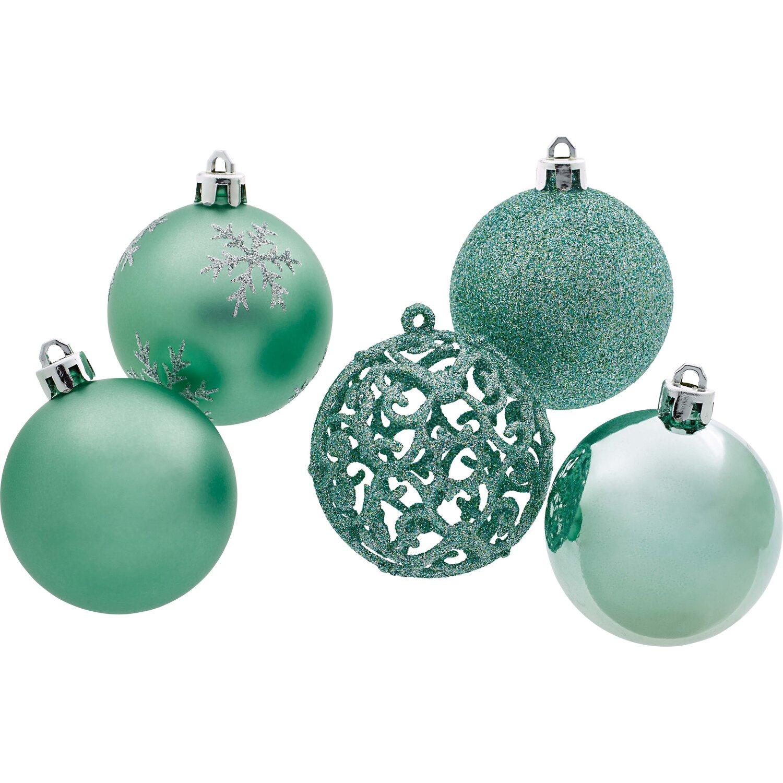 Weiß Christbaumkugeln Kunststoff.Weihnachts Baumkugel Set 25 Teilig Mint