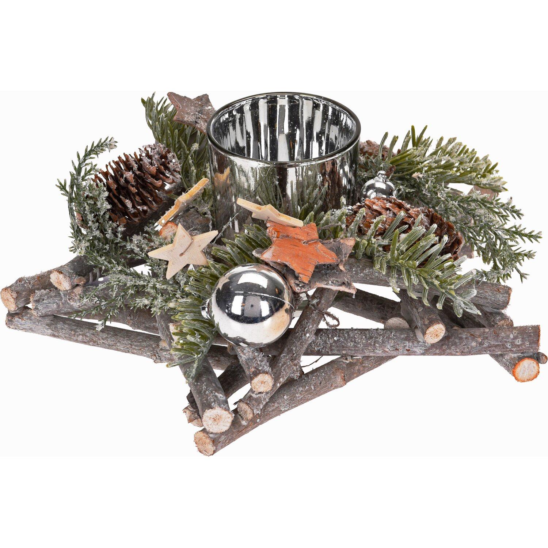 weihnachtsgesteck mit teelicht glas natur beschneit kaufen bei obi. Black Bedroom Furniture Sets. Home Design Ideas