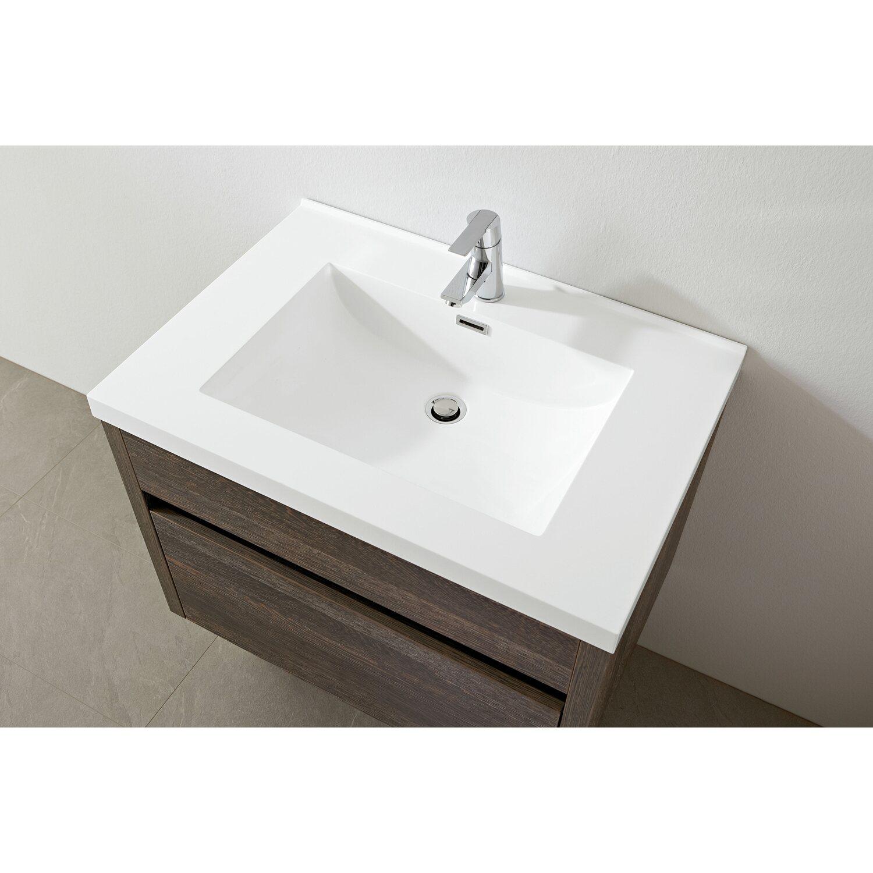 Waschtisch Obi.Waschplatz Grado 76 Cm Dunkelbraun Wandmontage