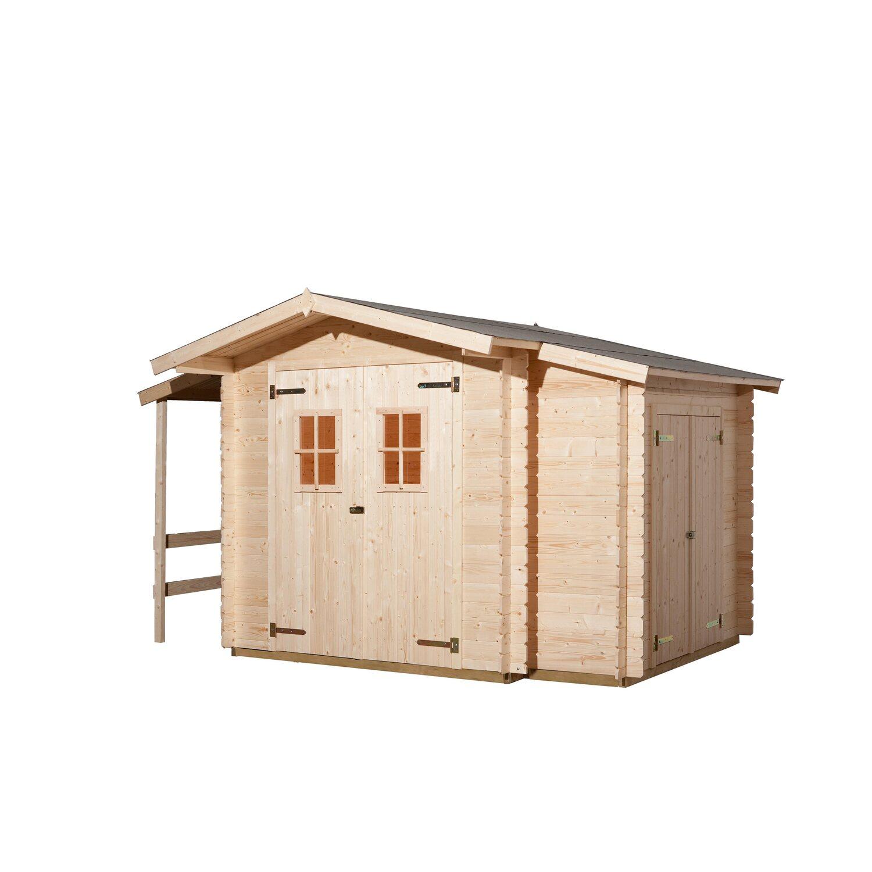 Weka Holz Gartenhaus Bologna Natur B X T 340 Cm X 200 Cm Davon 140 Cm Anbaudach Kaufen Bei Obi