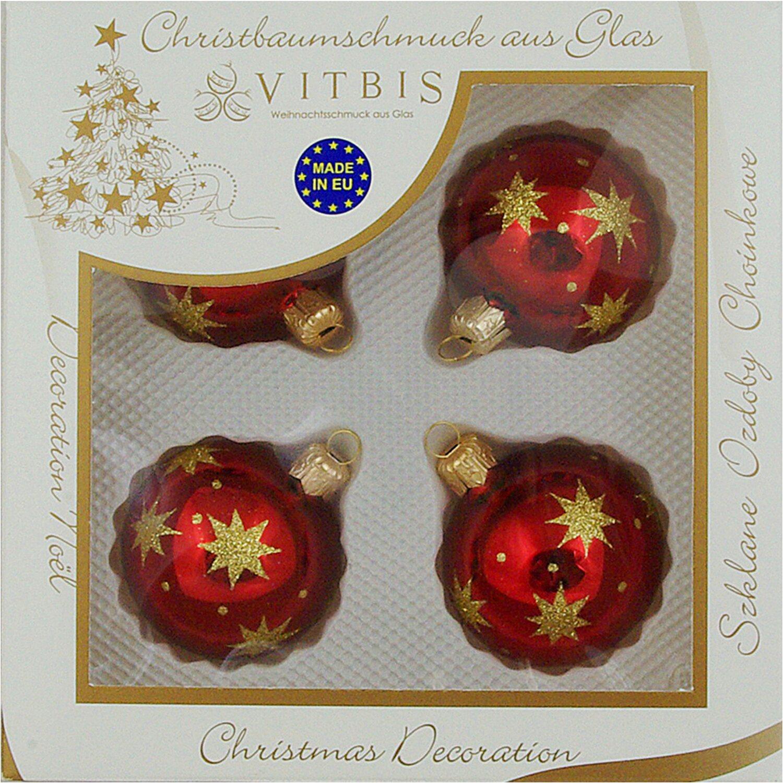 Vitbis glasweihnachtskugeln 6 cm 4 st ck dekor sterne bordeaux gold kaufen bei obi - Obi weihnachtskugeln ...