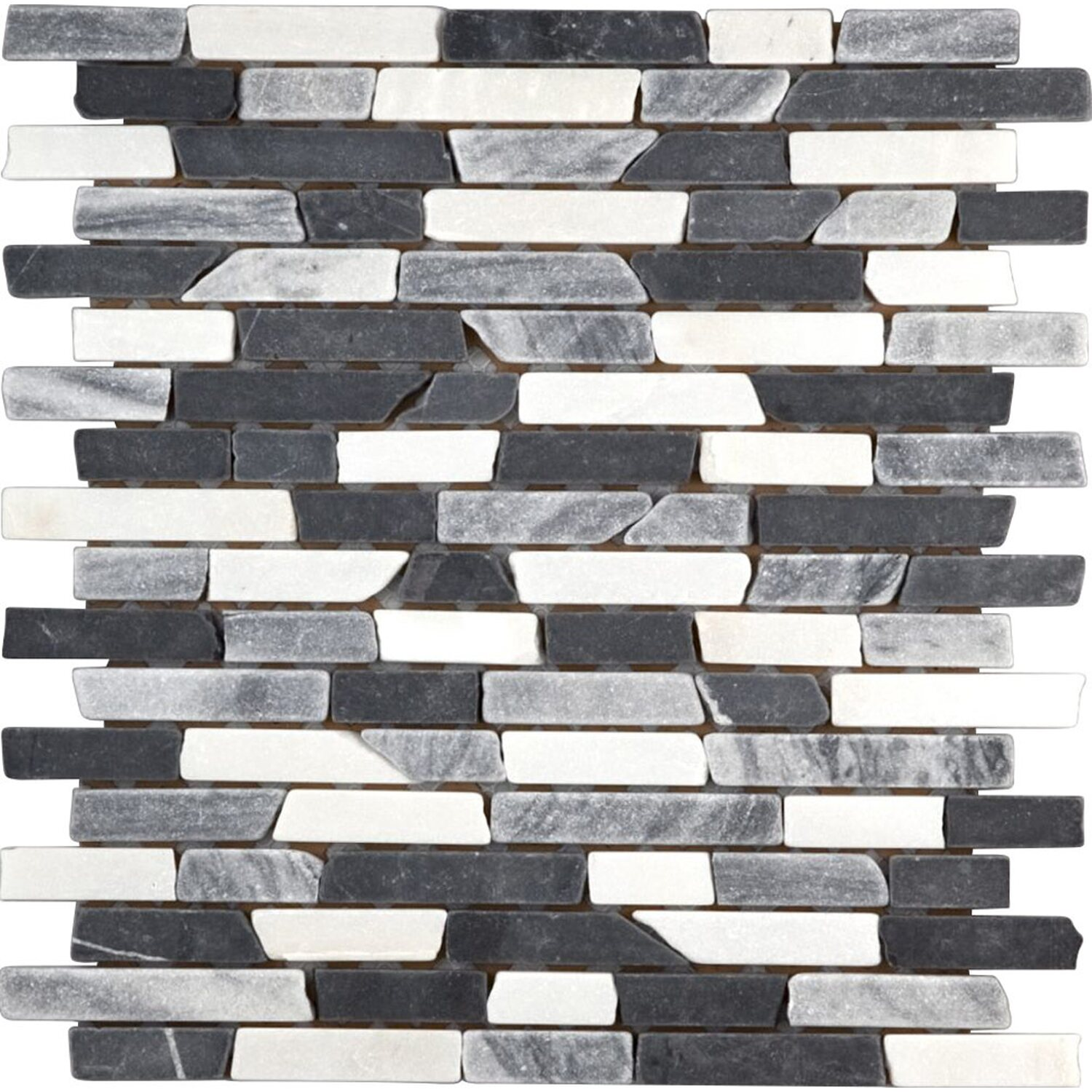 Sonstige Marmormosaik Black Grey White Mix Brick 30,5 cm x 30,5 cm