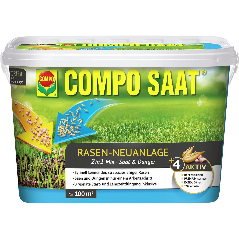 Compo Saat Rasen-Neuanlage-Mix Rasen und Dünger 100 m² 2,2 kg   Garten > Pflanzen > Dünger   Compo