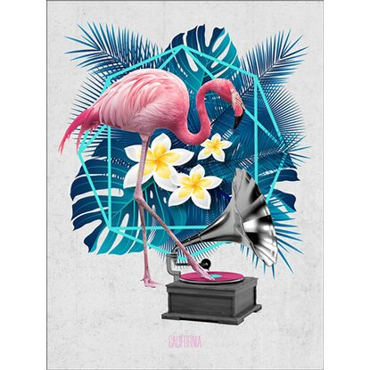 Leinwandbild Flamingo On Jukebox 57 cm x 77 cm