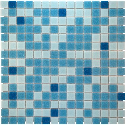 Mosaikmatte Glas Blau Mix Light 33 cm x 33 cm