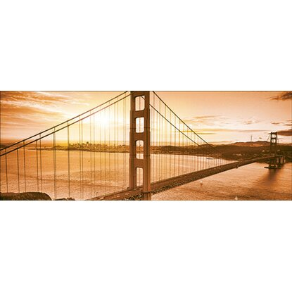 Leinwandbild Sun Over Golden Gate Bridge 27 cm x 77 cm