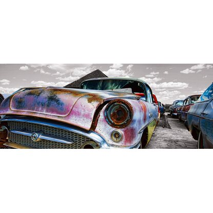 Eurographics Glasbild Vintage Car Is Rusting 50 cm x 125 cm