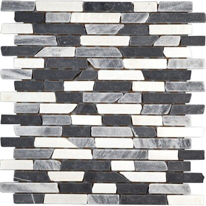 Marmormosaik Black Grey White Mix Brick 30,5 cm x 30,5 cm