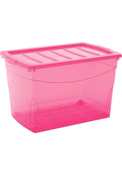 Aufbewahrungsbox Home XL mit 4 Rollen Fuchsia
