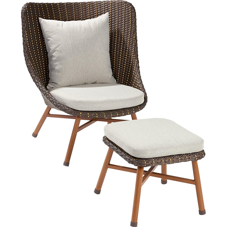lounge sessel bonfield polyrattan inkl hocker kaufen bei obi. Black Bedroom Furniture Sets. Home Design Ideas
