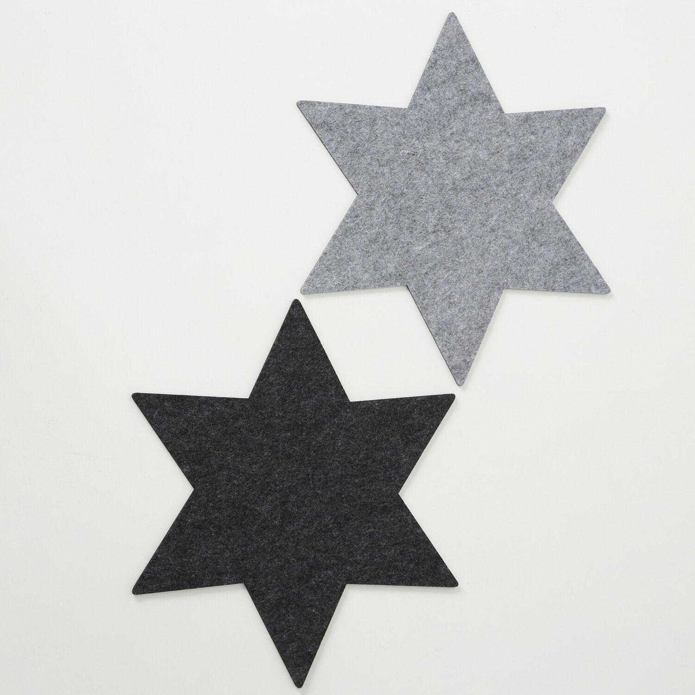 Filzunterlage Stern grau 21x0,5cm Tischdeko Unterlage Filzunterlage Filz