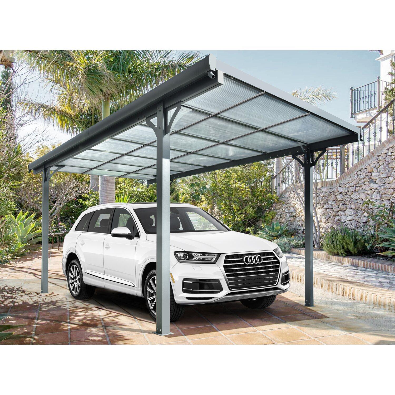 Floraworld Flachdach-Einzelcarport Aluminium Anthrazit 300 cm x 496 cm   Baumarkt > Garagen und Carports > Carports   Floraworld