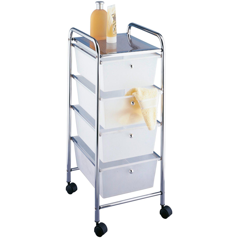 wenko rollwagen messina chrom mit 4 schubladen 80 5 cm x 33 cm x 39 cm kaufen bei obi. Black Bedroom Furniture Sets. Home Design Ideas