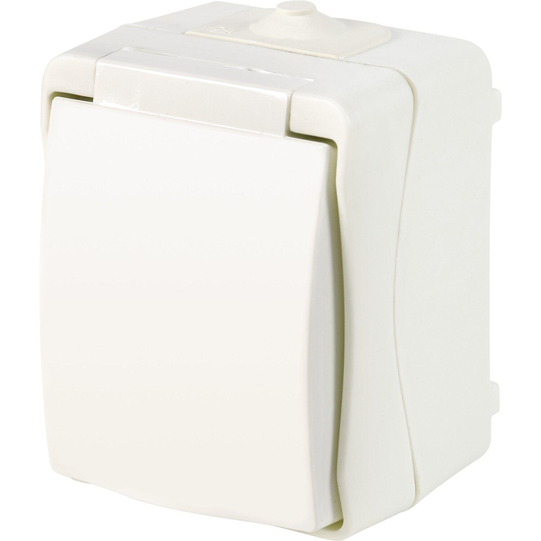 Feuchtraum Steckdose 1-fach IP54 Weiß