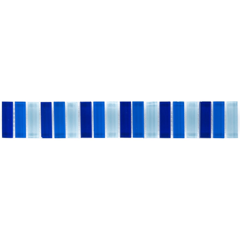 Sonstige Bordüre Glasmosaik Blau-Mix 5 cm x 30,6 cm