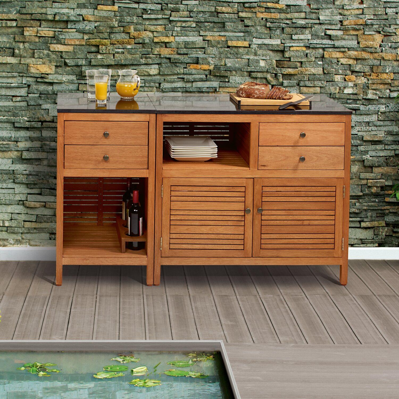 Garten Schrank Chelsea FSC® Eukalyptusholz mit Granitarbeitsplatte