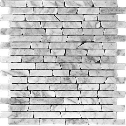 Marmormosaik Carrara White Slim Brick 30,5 cm x 30,5 cm